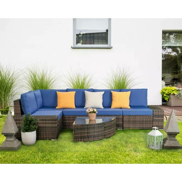 Newest Stapleton Wicker Resin Patio Sofas With Cushions Throughout Halcott Outdoor All Weather Patio Sectional With Cushions (View 19 of 20)