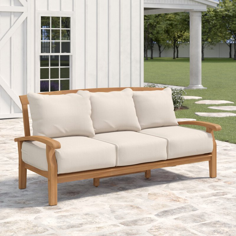 Newest Summerton Teak Patio Sofa With Cushions Throughout Summerton Teak Patio Sofas With Cushions (View 9 of 20)