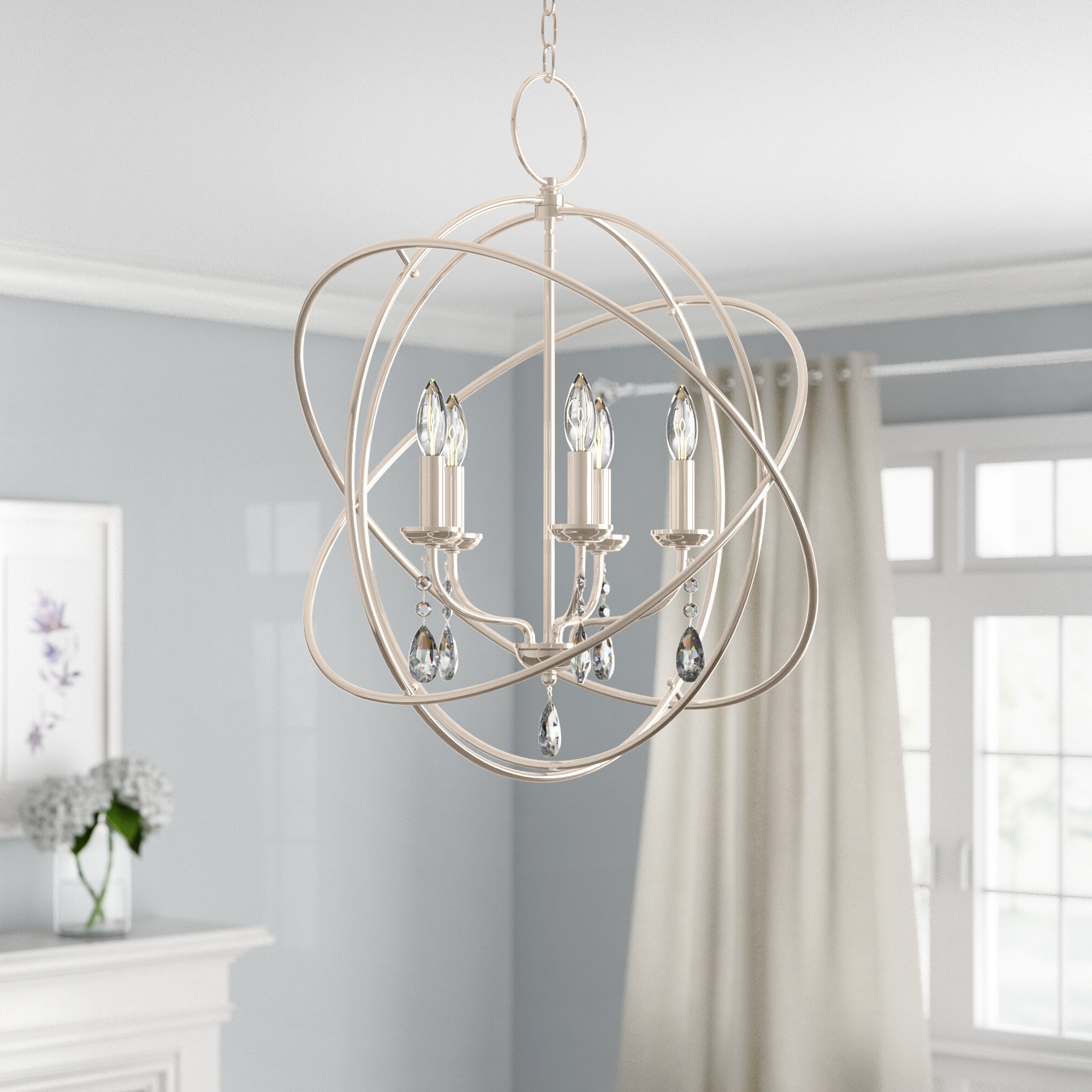 Newest Verlene Foyer 5 Light Globe Chandeliers Throughout Auberta 5 Light Globe Chandelier (View 12 of 20)