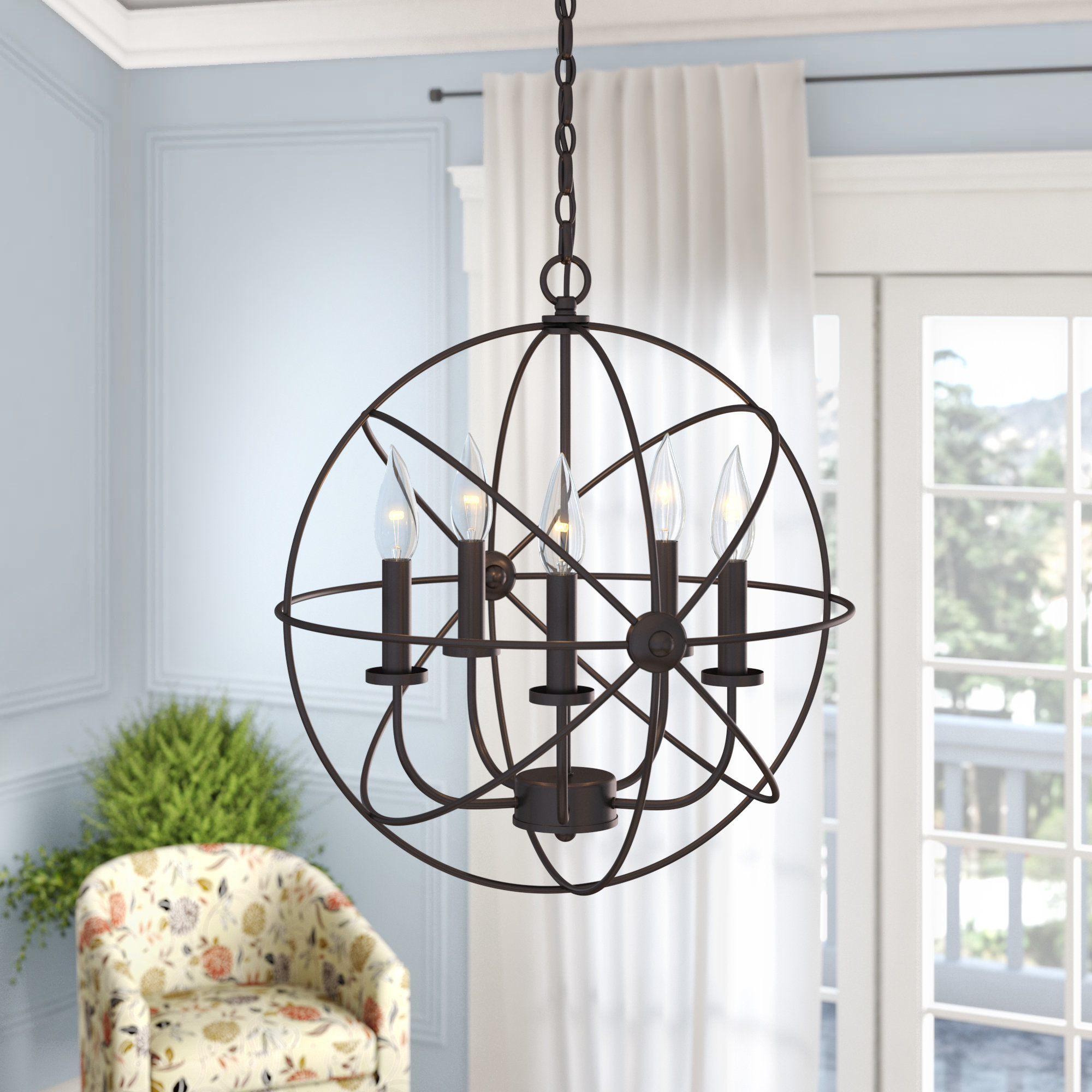 Newest Verlene Foyer 5 Light Globe Chandeliers With Regard To Caius 5 Light Globe Chandelier (View 13 of 20)