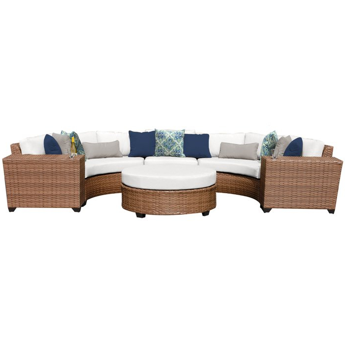 Newest Waterbury 6 Piece Seating Group With Cushions In Waterbury Curved Armless Sofa With Cushions (View 12 of 20)