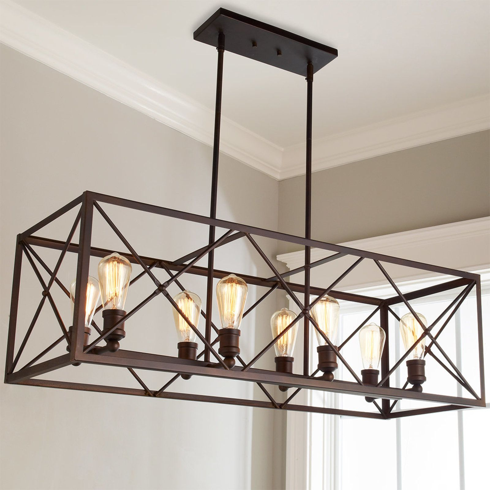 Nisbet 4 Light Lantern Geometric Pendants Regarding Well Liked Industrial Cross Framed Box Island Chandelier (View 12 of 20)