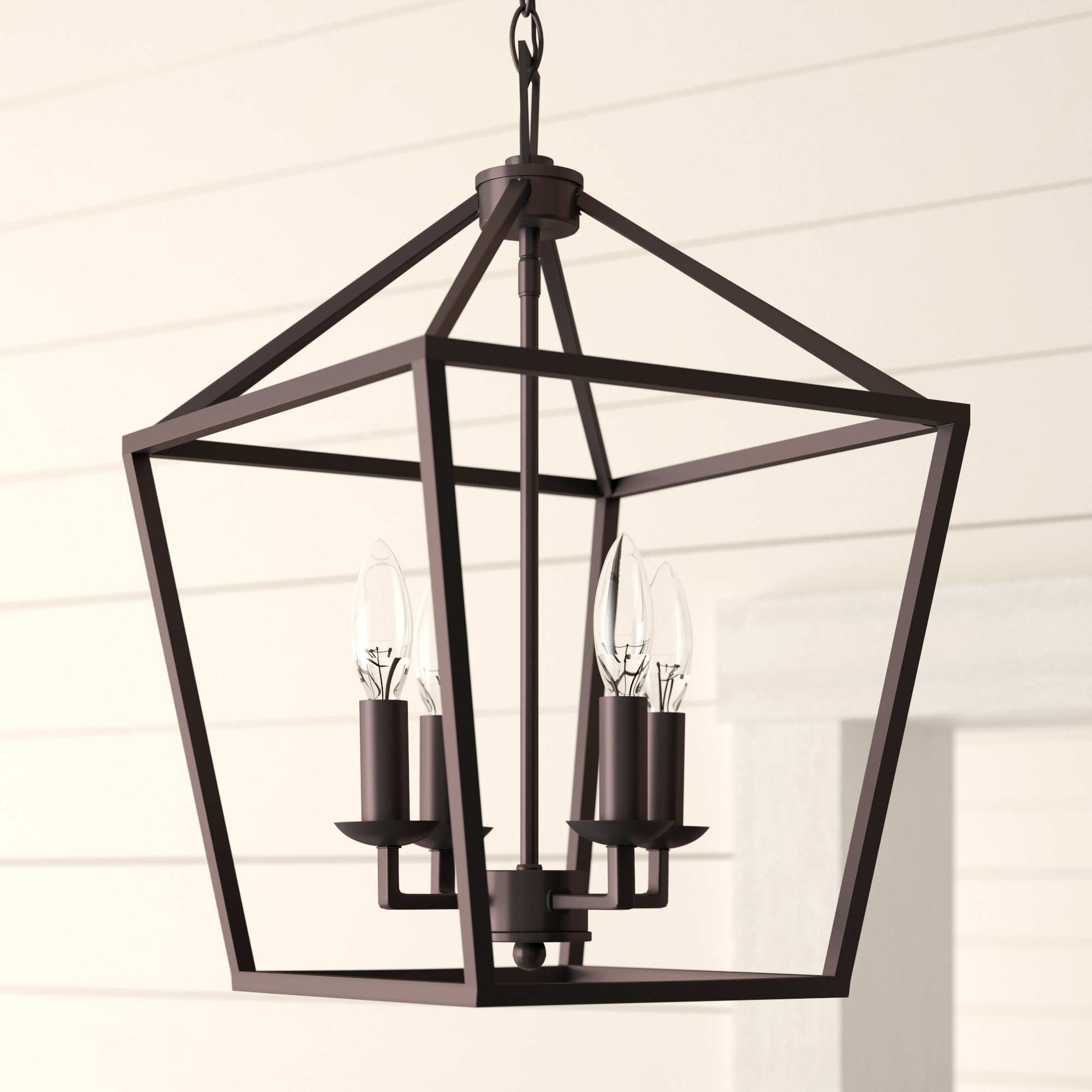 Nisbet 4 Light Lantern Geometric Pendants Throughout Best And Newest Laurel Foundry Modern Farmhouse Carmen 4 Light Lantern Pendant (View 13 of 20)