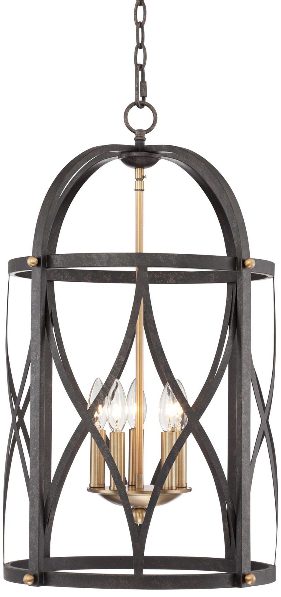 Nisbet 6 Light Lantern Geometric Pendants In Favorite Torrison 5 Light 16' Wide Dark Bronze Foyer Chandelier (View 10 of 20)