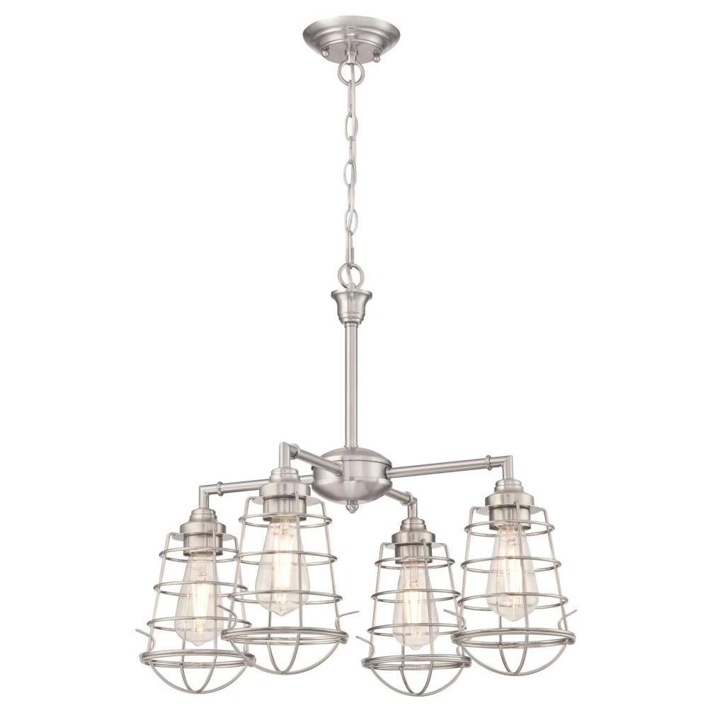 Nolan 1 Light Single Cylinder Pendants For Well Known Westinghouse Nolan 4 Light Brushed Nickel Chandelier/semi Flush Mount With  Cage Shades (View 7 of 20)