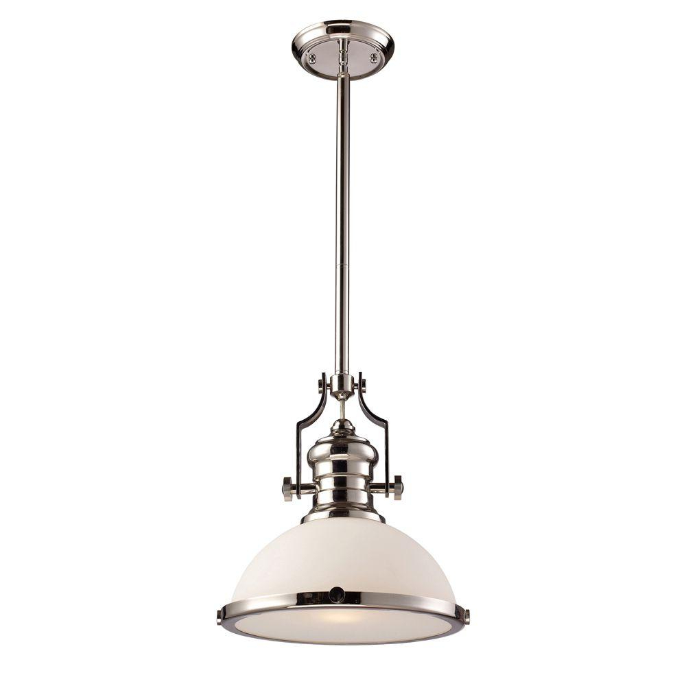 Nolan 1 Light Single Cylinder Pendants In Most Up To Date Titan Lighting Chadwick 1 Light Polished Nickel Ceiling Mount Pendant (View 8 of 20)
