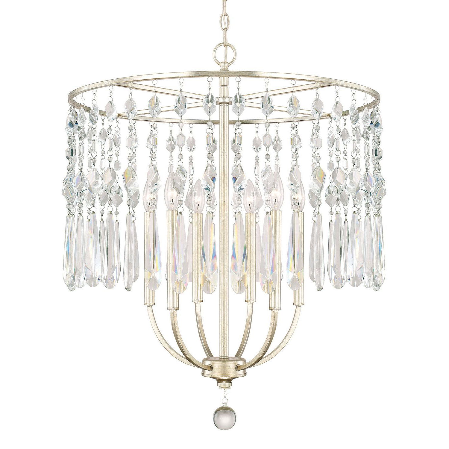 Nolan 6 Light Crystal Chandelier In  (View 19 of 20)