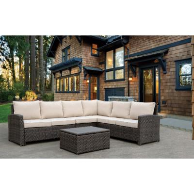 Nolen Patio Sectionals With Cushions Pertaining To Most Recent Noble House Nolan Multi Brown 8 Piece Wicker Outdoor (View 14 of 20)