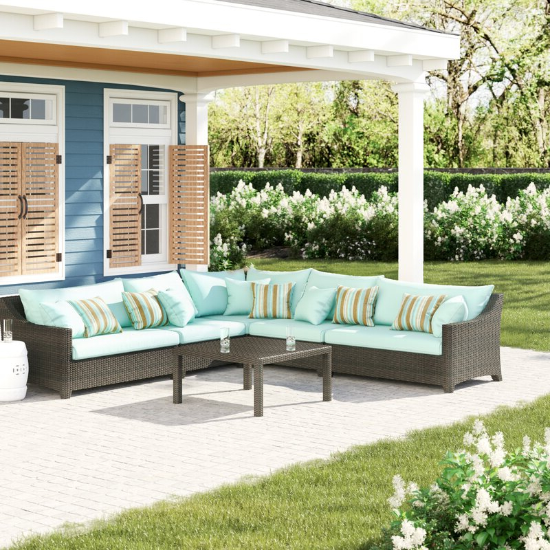 Northridge 6 Piece Rattan Sunbrella Sectional Set With Cushions Regarding Fashionable Northridge Patio Sofas With Sunbrella Cushions (View 8 of 20)