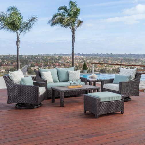 Northridge Patio Sofas With Sunbrella Cushions Within Trendy Northridge 6 Piece Sunbrella Sofa Set With Cushions (View 16 of 20)