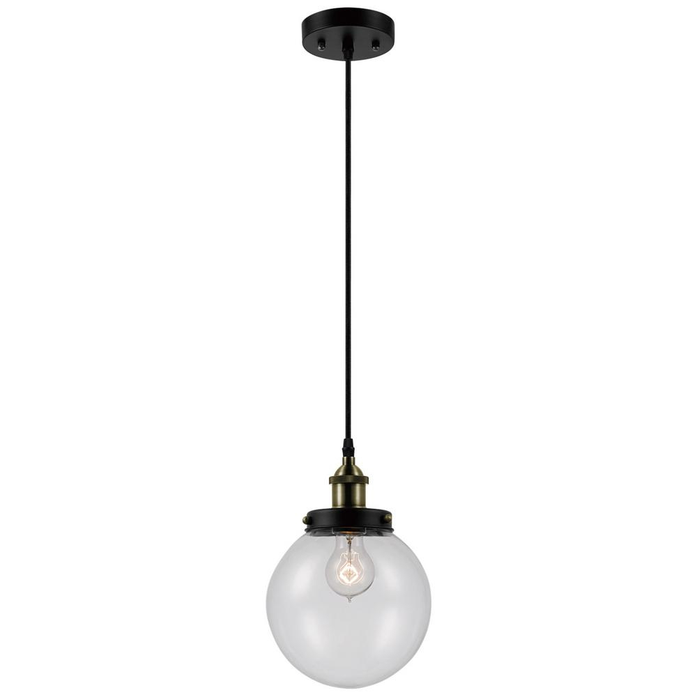 Novogratz Vintage 5 Light Kitchen Island Bulb Pendants Intended For 2020 Globe Electric Daario 1 Light Bronze And Antique Brass Hanging Pendant With Clear Glass Shade (View 6 of 20)