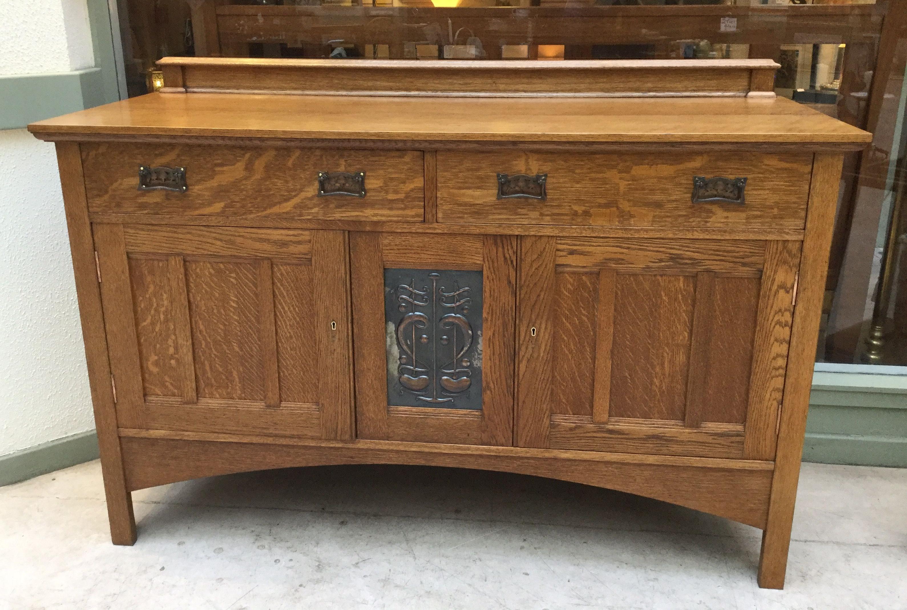 Oak Sideboard, With Original Beaten Copper Panel (Gallery 4 of 20)