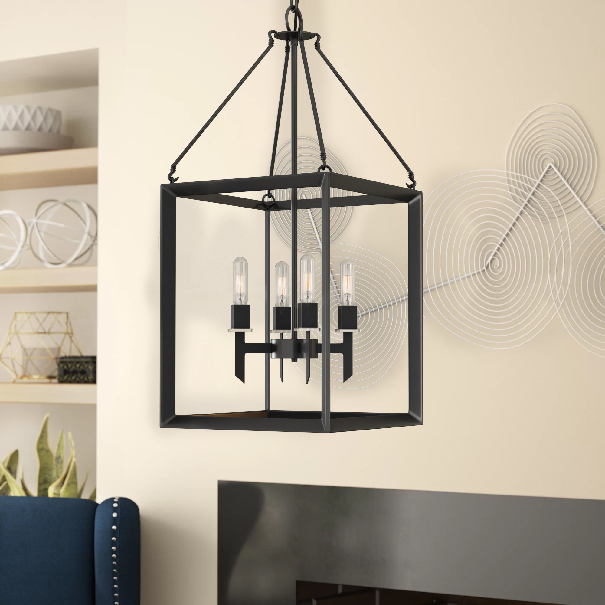Odie 4 Light Lantern Square Pendants Pertaining To Recent Haught 4 Light Lantern Square Pendant (View 5 of 20)