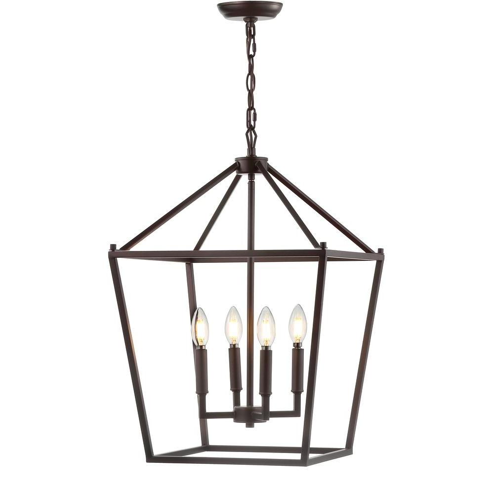 Odie 4 Light Lantern Square Pendants Pertaining To Recent Jonathan Y Pagoda 16 In. 4 Bulb Oil Rubbed Bronze Lantern (Gallery 18 of 20)