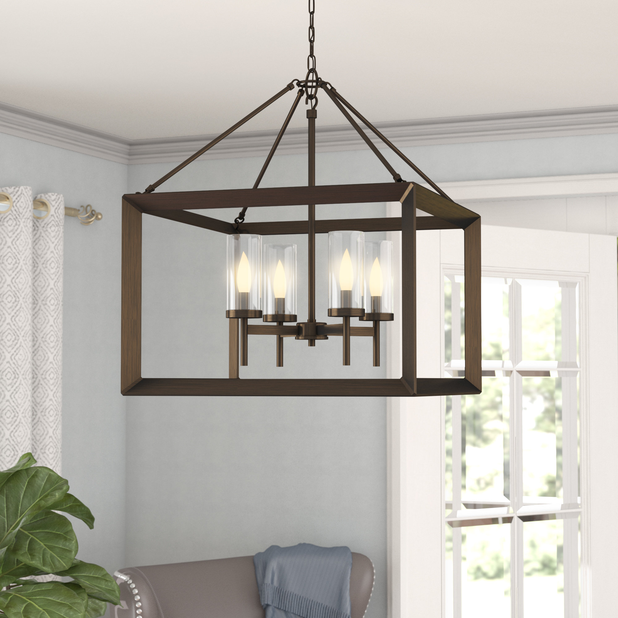 Odie 4 Light Lantern Square Pendants With Regard To Most Current Thorne 4 Light Lantern Rectangle Pendant (View 9 of 20)