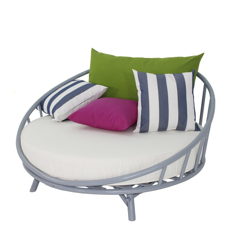 Olu Bamboo Large Round Patio Daybed With Cushions In Current Aubrie Patio Daybeds With Cushions (View 6 of 20)