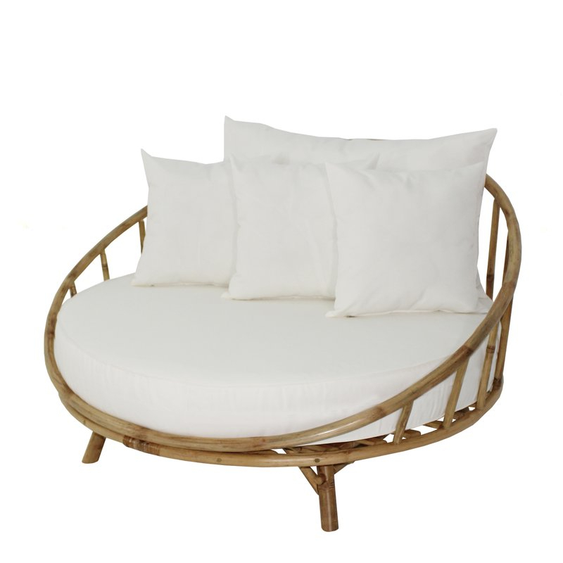 Olu Bamboo Large Round Patio Daybed With Cushions With Regard To Widely Used Aubrie Patio Daybeds With Cushions (View 14 of 20)