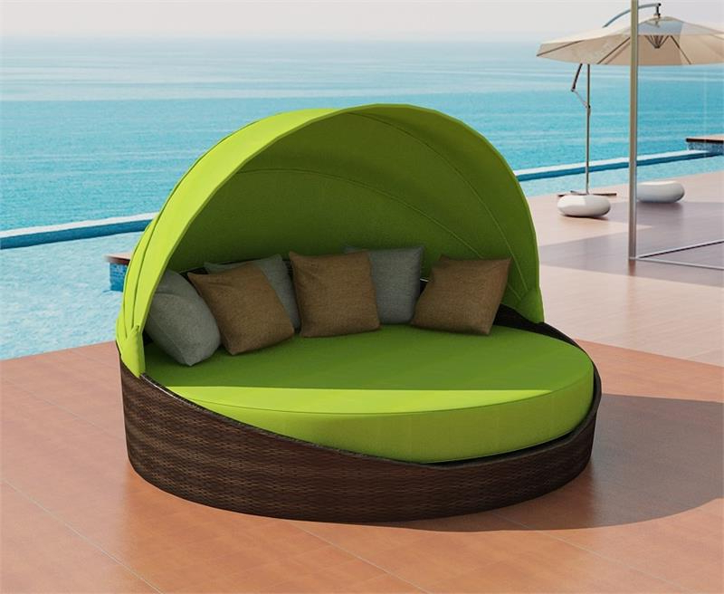 Olu Bamboo Large Round Patio Daybeds With Cushions In Most Popular Daybed Round Patio Furniture : Outdoor Decorations (View 16 of 20)