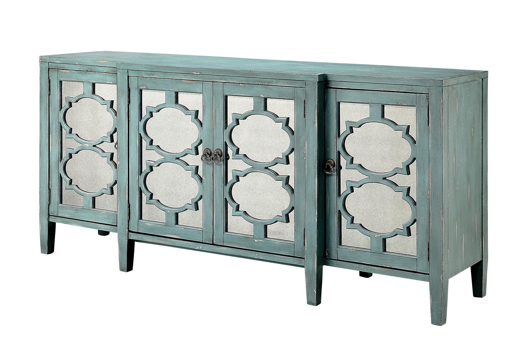 One Allium Way Honalee Breakfront 4 Door Credenza Accent Cabinet Inside Newest Kara 4 Door Accent Cabinets (View 12 of 20)