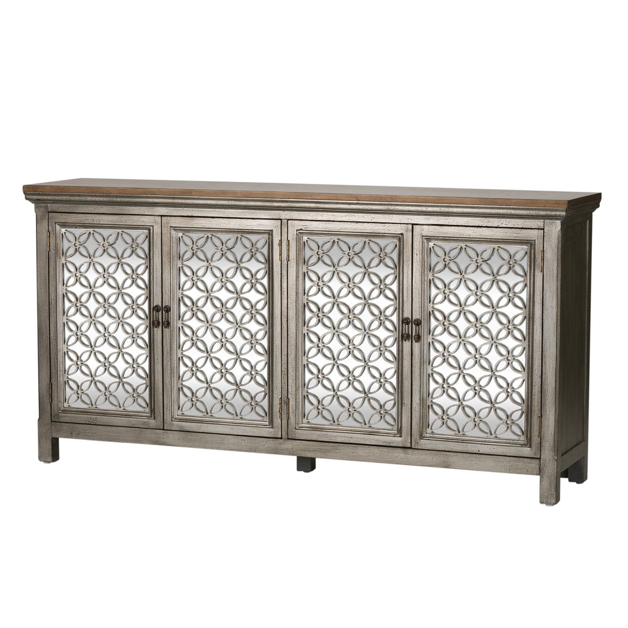 Ophelia & Co. Continuum Copper 4 Door Accent Cabinet Inside Most Current Kara 4 Door Accent Cabinets (Gallery 9 of 20)