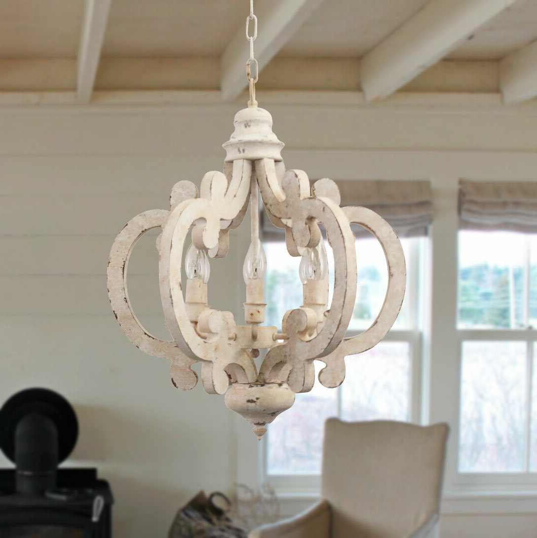 Ophelia & Co. Kacie Cottage Crown 6 Light Candle Style Regarding Famous Lynn 6 Light Geometric Chandeliers (Gallery 9 of 20)