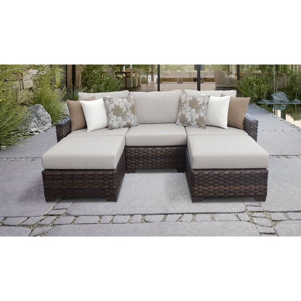Oreland Patio Sofas With Cushions Throughout Preferred Shop Kathy Ireland River Brook 5 Piece Outdoor Wicker Patio (View 14 of 20)