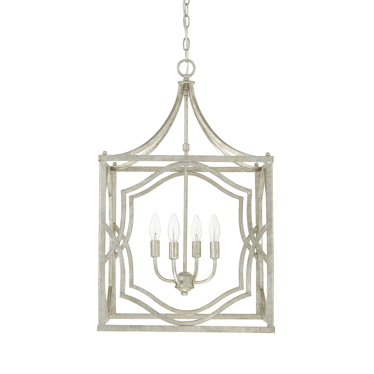 Oriana 4 Light Single Geometric Chandeliers Inside Most Current Blakely 4 Light Antique Silver Foyer Fixture – Antique (Gallery 9 of 20)