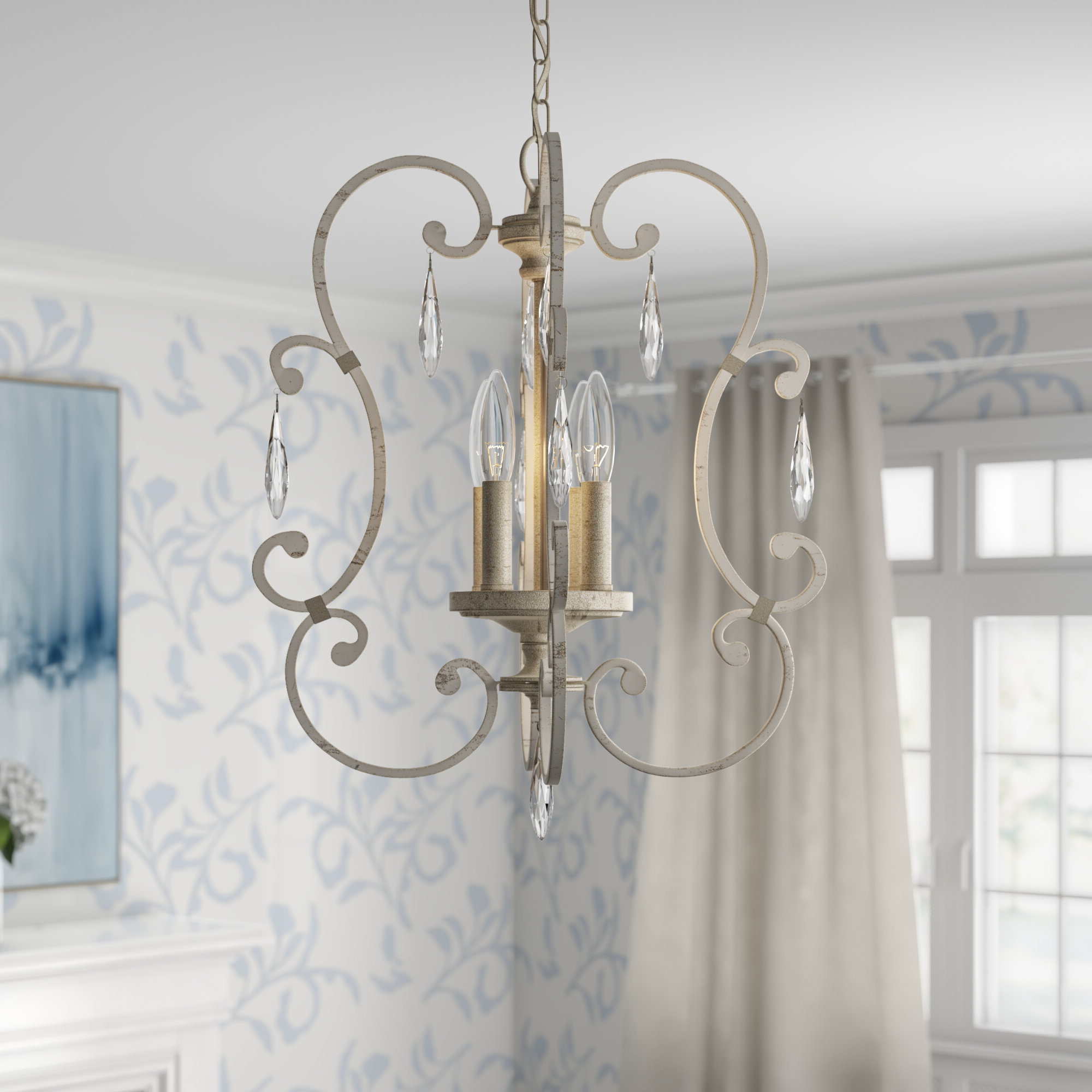 Oriana 4 Light Single Geometric Chandeliers With Regard To Fashionable Oriana 4 Light Single Geometric Chandelier (Gallery 1 of 20)