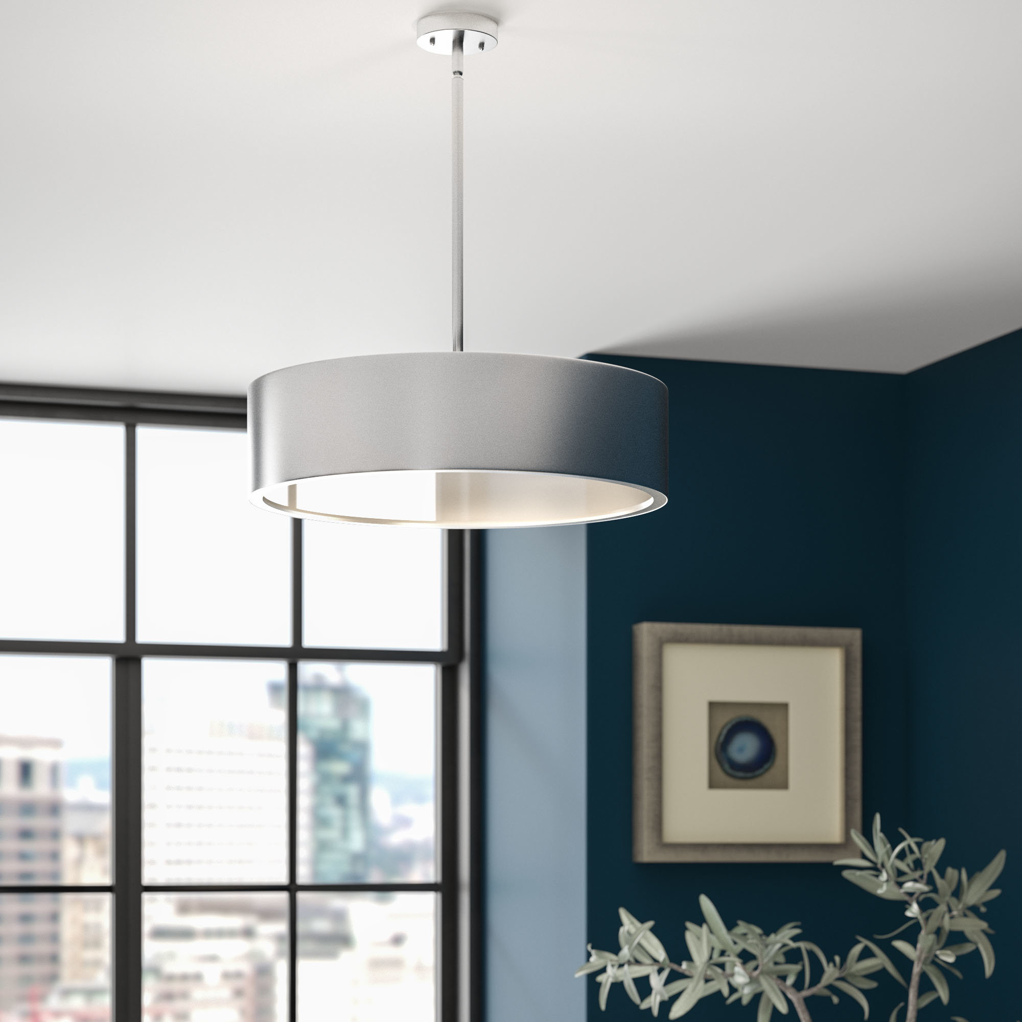 Orren Ellis Radtke 3 Light Single Drum Pendant & Reviews In Famous Friedland 3 Light Drum Tiered Pendants (View 15 of 20)