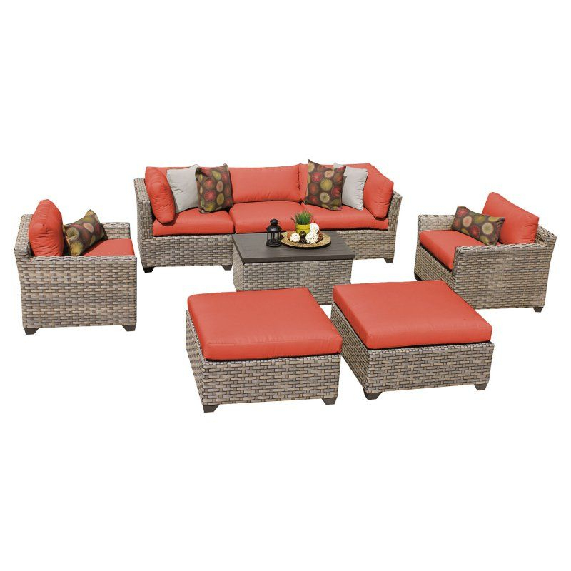 Outdoor Tk Classics Monterey Wicker 8 Piece Patio Intended For 2020 Greta Living Patio Sectionals With Cushions (View 11 of 20)
