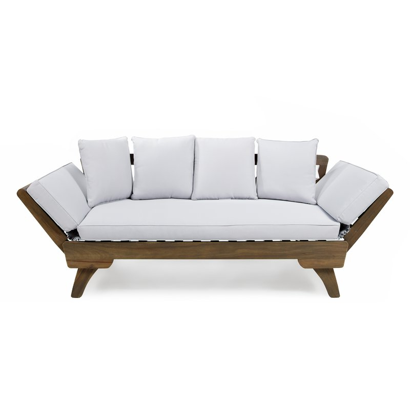 Patio Daybeds With Cushions Intended For Newest Ellanti Teak Patio Daybed With Cushions (View 12 of 20)