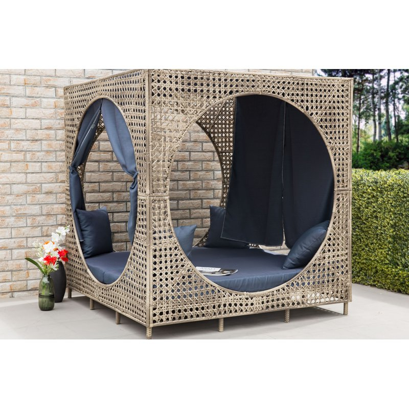 Patio Daybeds With Cushions Intended For Well Known Brennon Cube Patio Daybed With Cushions (View 12 of 20)