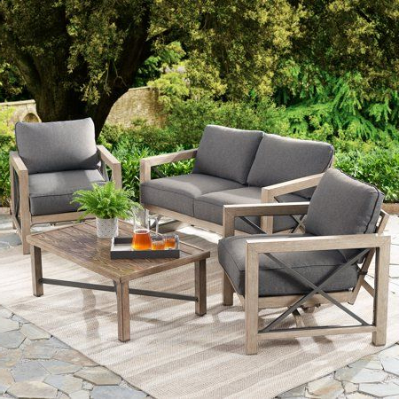 Patio Loveseat, Grey With Regard To Best And Newest Avadi Outdoor Sofas & Ottomans 3 Piece Set (View 13 of 20)