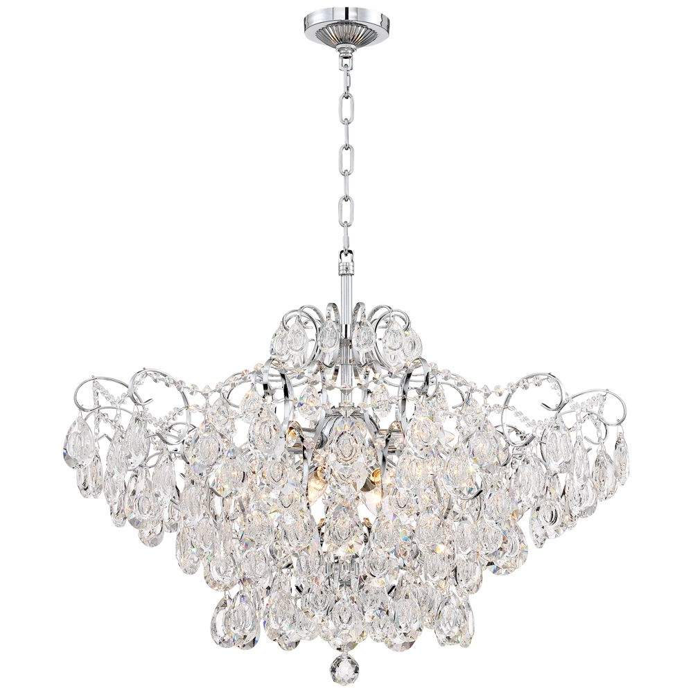 """Petunia 28"""" Wide Chrome Crystal Chandelier – Style # 14A17 Throughout Well Liked Clea 3 Light Crystal Chandeliers (View 12 of 20)"""
