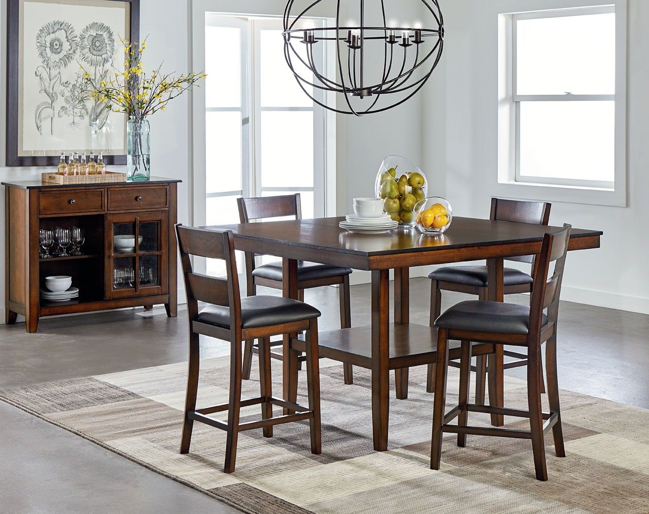 Pineville Dining Sideboards In 2020 Pendwood Dark Merlot Cherry Counter Height Dining Room Set (View 19 of 20)