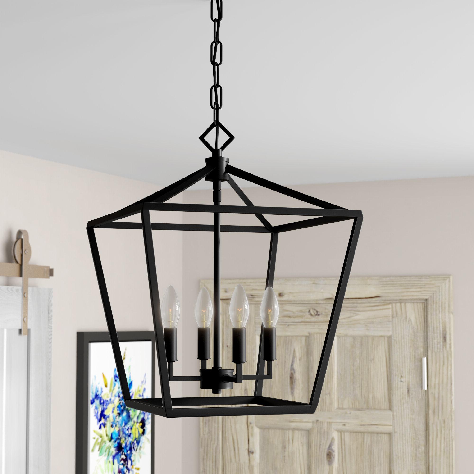 Poisson 4 Light Lantern Pendant With Regard To Famous Odie 4 Light Lantern Square Pendants (Gallery 17 of 20)