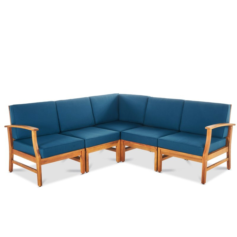 Popular Antonia Teak Patio Sectionals With Cushions Regarding Antonia Teak Patio Sectional With Cushions (Gallery 1 of 20)