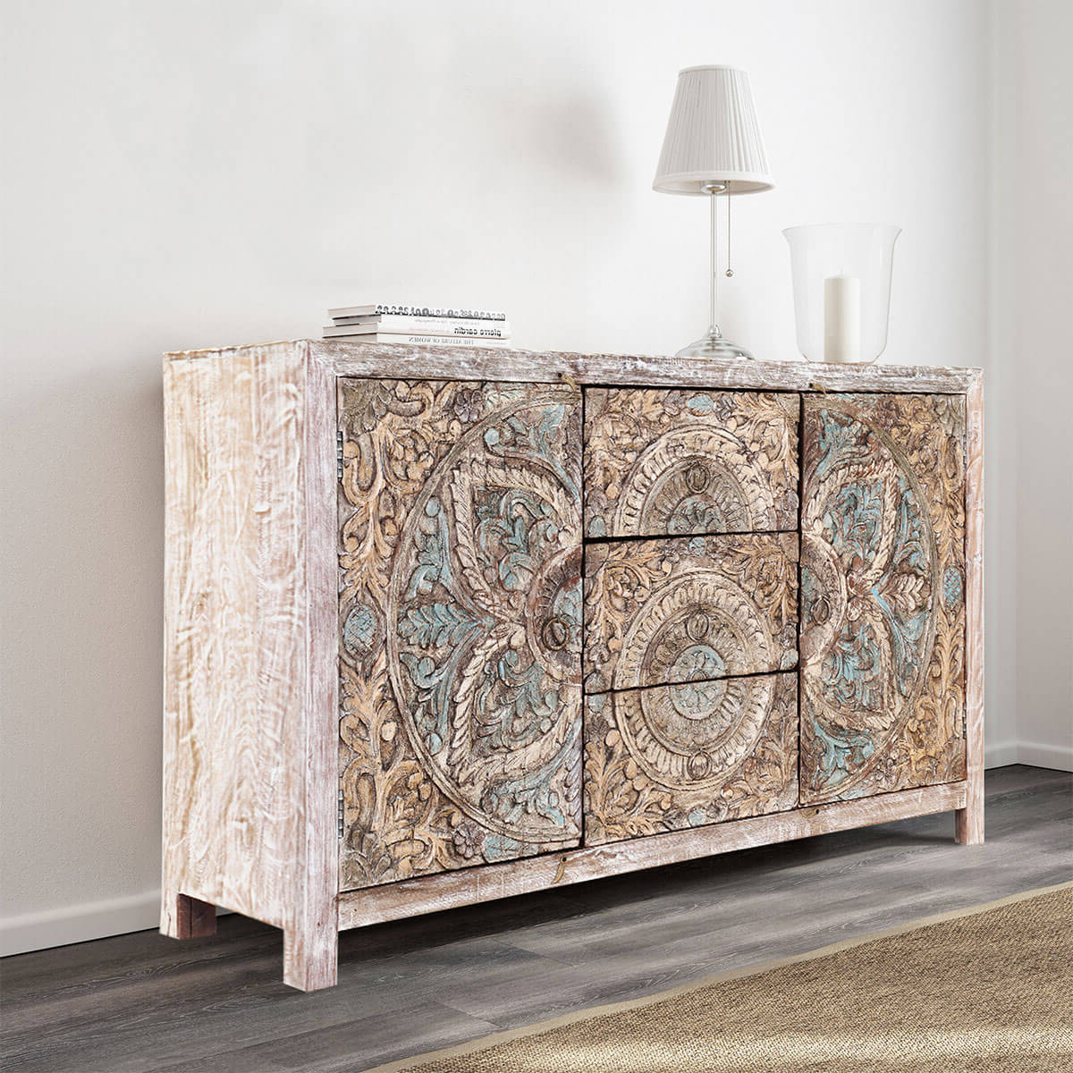 Popular Avenal Sideboards In Avenal Floral Mandalas Solid Wood Hand Carved Accent Buffet Cabinet (View 7 of 20)
