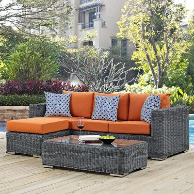 Popular Brayden Studio Keiran 5 Piece Rattan Sunbrella Sectional Set With Regard To Keiran Patio Sofas With Cushions (View 17 of 20)