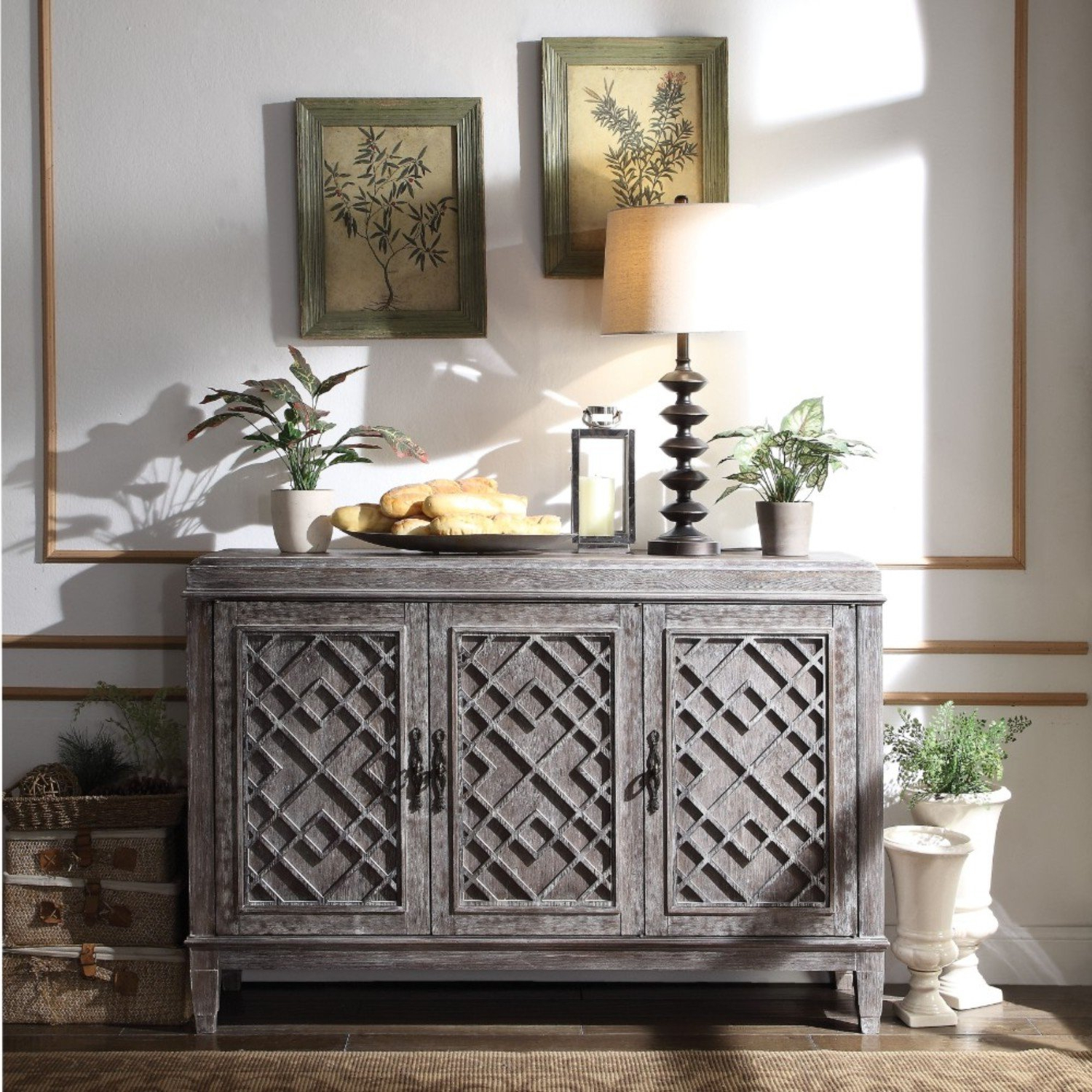 Popular Deana Credenzas Within Silas Distressed Wooden Credenza (View 19 of 20)