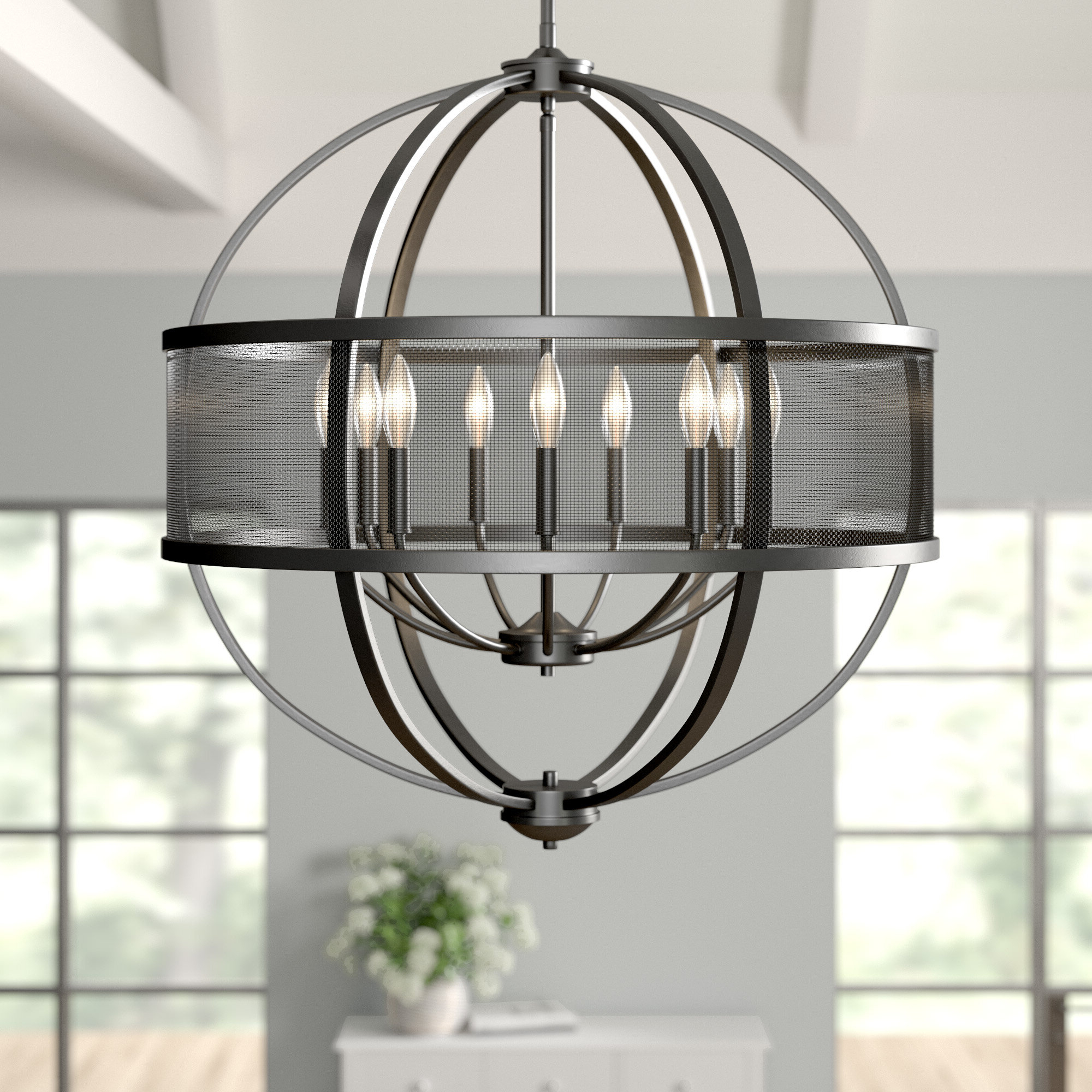Popular Emaria 4 Light Unique / Statement Chandeliers With Earlene 9 Light Globe Chandelier (View 17 of 20)