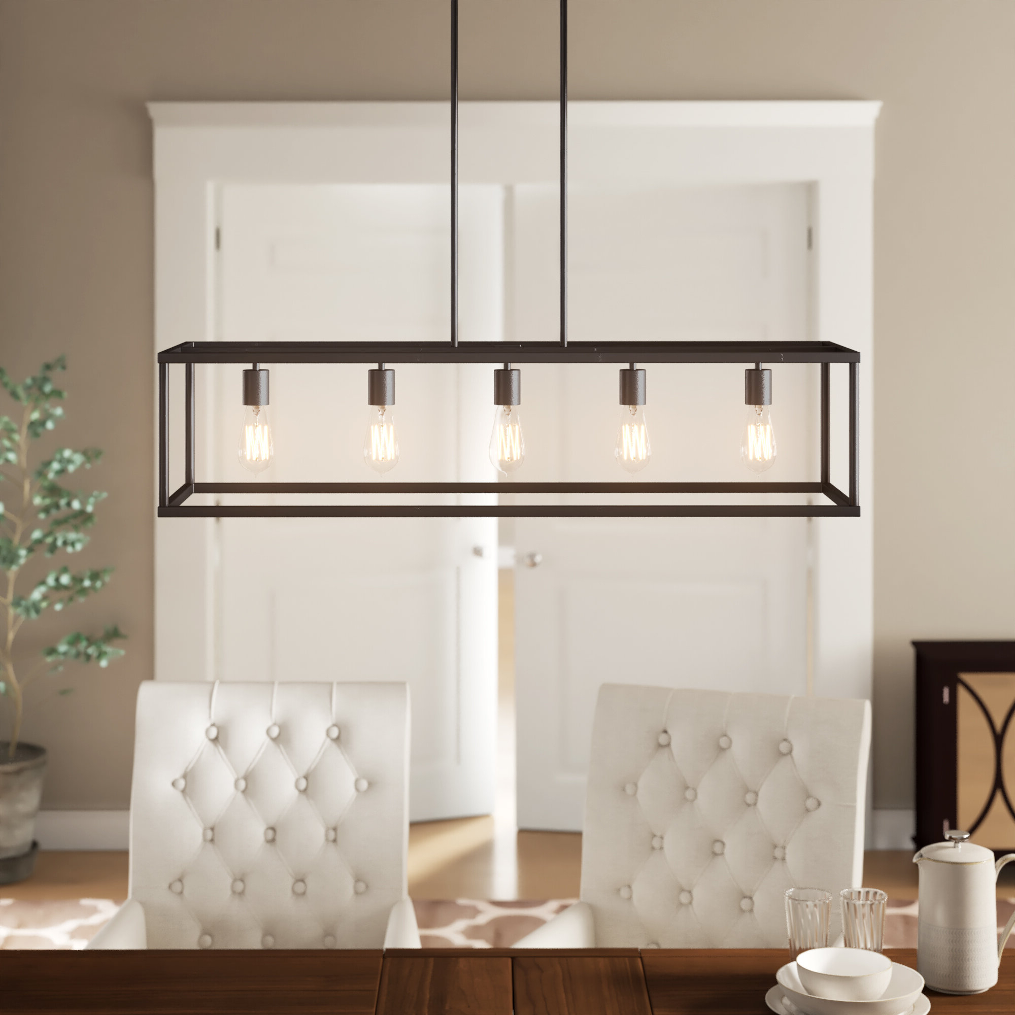 Popular Freemont 5 Light Kitchen Island Linear Chandeliers With Cassie 5 Light Kitchen Island Linear Pendant (View 17 of 20)