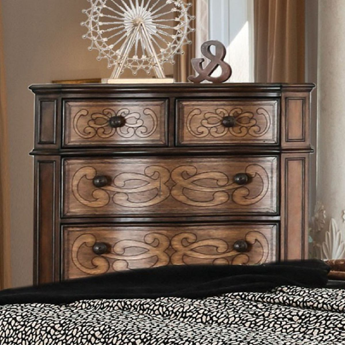 Popular Furniture Of America Emmaline 6 Drawer Chest In Warm Chestnut Cm7831c For Emmaline Sideboards (View 17 of 20)