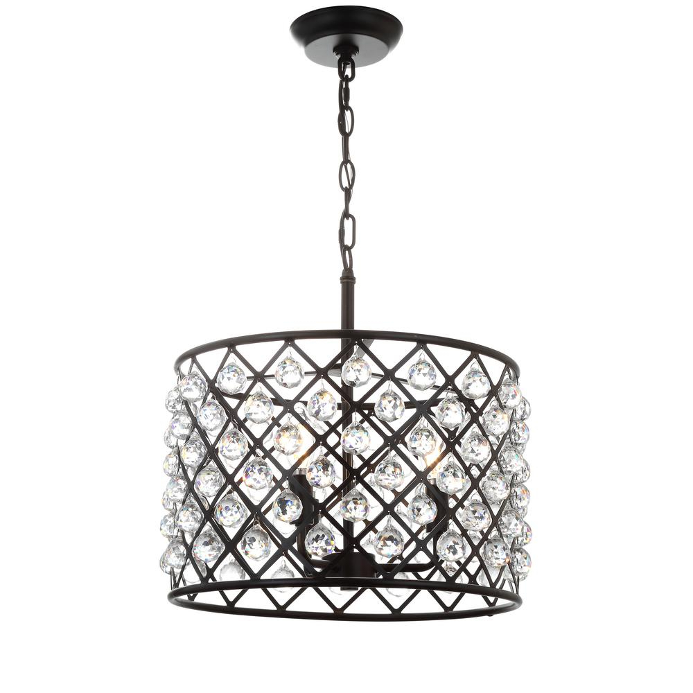 Popular Gabriella 3 Light Lantern Chandeliers For Jonathan Y Gabrielle 16 In. 3 Light Oil Rubbed Bronze Crystal/metal Led Pendant (Gallery 20 of 20)
