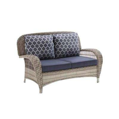 Popular Karan Wicker Patio Loveseats Pertaining To Beacon Park Gray Wicker Outdoor Loveseat With Midnight Cushions (Gallery 19 of 20)