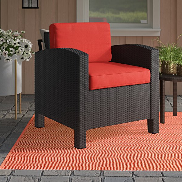 Popular Katzer Wicker Resin Aluminum Contemporary Patio Chair With Cushion Intended For Katzer Patio Sofas With Cushions (Gallery 10 of 20)