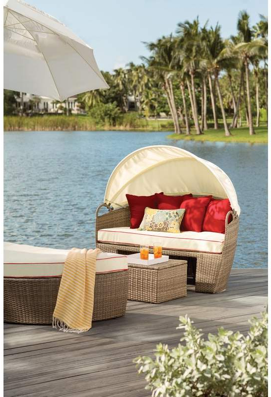 Popular Lavina Outdoor Patio Daybeds With Cushions Throughout Beachcrest Home Garden Grove Patio Daybed With Cushions In (View 19 of 20)