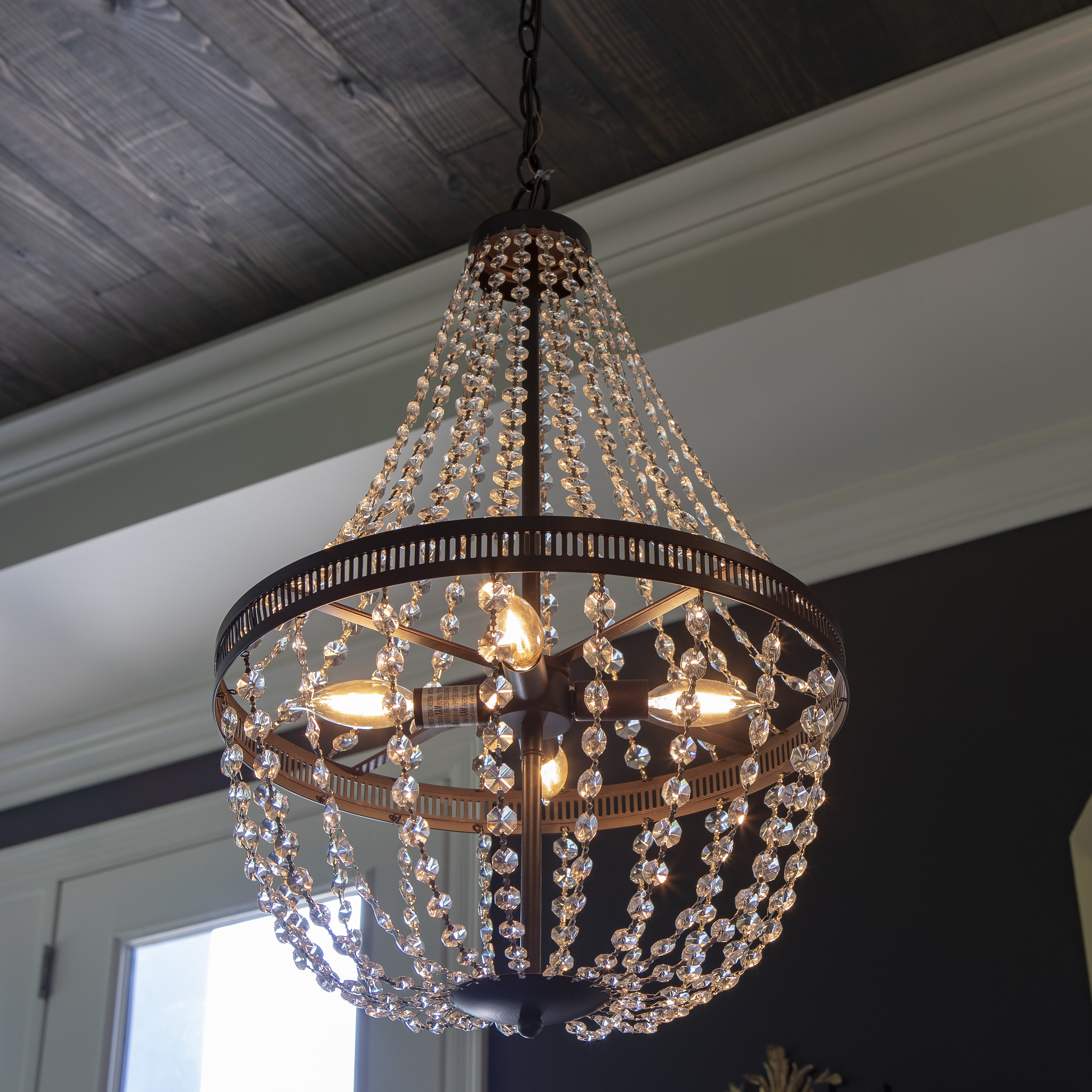 Popular Mckamey 4 Light Crystal Chandeliers Throughout House Of Hampton Weidman 4 Light Crystal Chandelier (View 8 of 20)