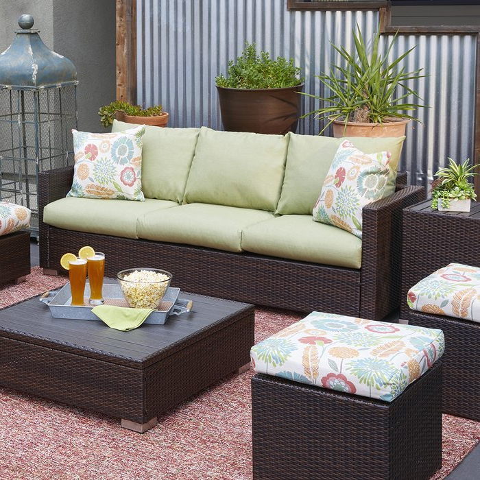 Popular Michal Patio Sofas With Cushions With Regard To Mcmanis Patio Sofa With Cushion (View 14 of 20)