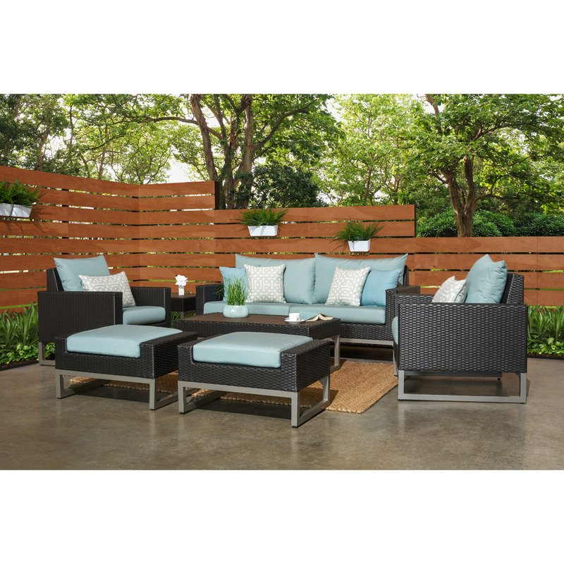 Popular Minor 7 Piece Rattan Sunbrella Sofa Set With Cushions With Regard To Kunz Loveseats With Cushions (Gallery 9 of 20)